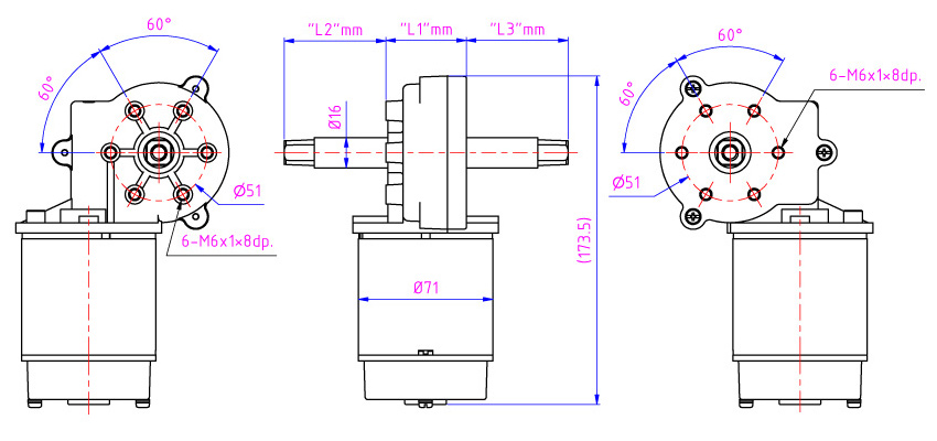 Worm gear can provide very high reduction ratios can choose right and left side output shaft by Taiwan gear reducer manufacturer.